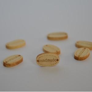 "Leseni gumb ""Handmade"" - bež"