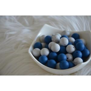 Silikonske kroglice - marmorno sive ali temno modre 15mm