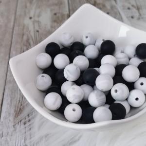 Silikonske kroglice - črne ali marmorno sive 12mm