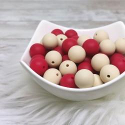 Silikonske kroglice - rdeče ali bež 15mm