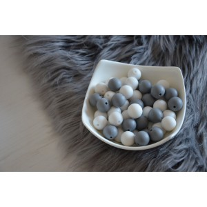 Silikonske kroglice - bele ali sive 15mm