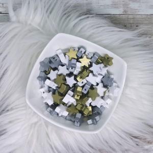 Lesene zvezdice - bele ali srebrne (5 kosov)