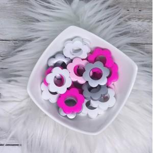 Lesene rožice - bela, roza, pink, viola, srebrna (2 kosa)